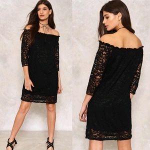 Nasty Gal Black Harini Off The Shoulder Lace Dress